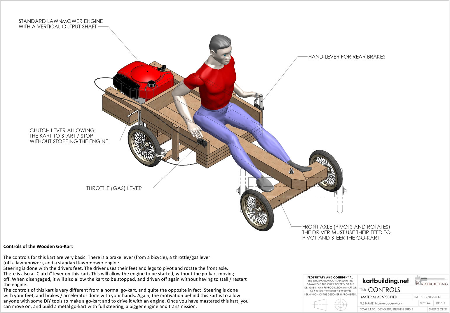 Lawnmower Powered Wooden Go Kart Overview