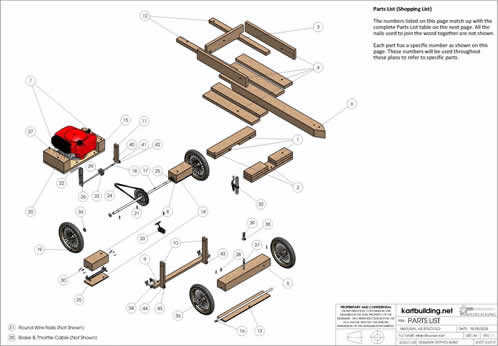 lawnmower powered wooden go kart plans and instructions on how introduction overview of the controls parts list labelled