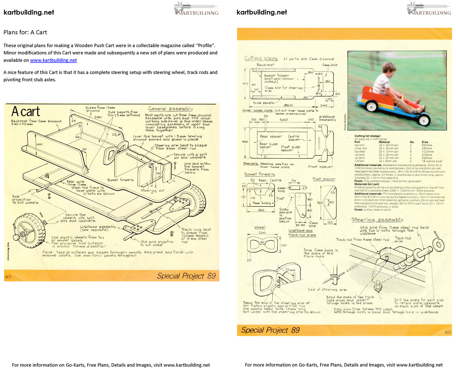 Wooden Go-Kart Plans :: How to build a wooden push cart ...