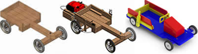 Photo of the Simple Wooden Go Kart powered with a Lawnmower Engine as built with these Plans